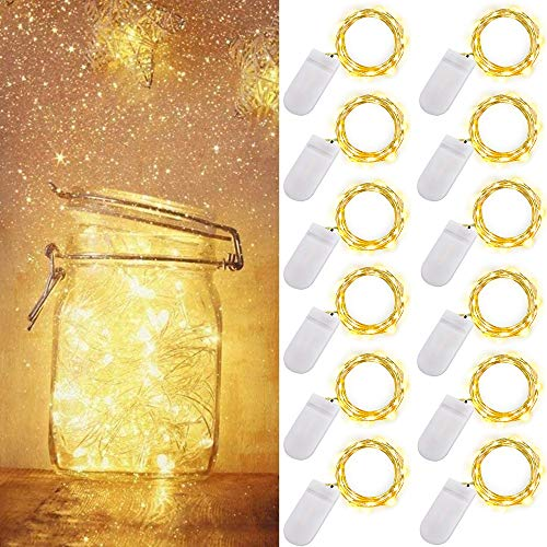 [12 Pack]Ooklee Starry Fairy Lights Battery Operated, 2m 20 LED Copper Wire Bottle Light, Firefly String Decorative Lighting for Home Table Party Wedding Indoor Jar Garden Christmas Decor(Warm White)