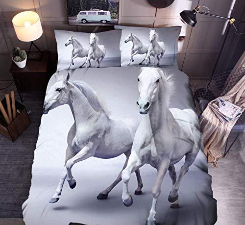 HDBUJ dekbedovertrek van polyester, modieus, 3D-digitale print, met 2 bijpassende kussenslopen, wit