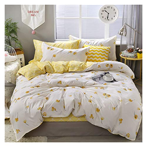 HNXCBH Double Duvet Cover 3/4pcs Twin Full Queen King Size Bedding Set Fruit Flower Family Bed Sheet Duvet Cover Pillowcase Single Double Bed Set Double Duvet Set