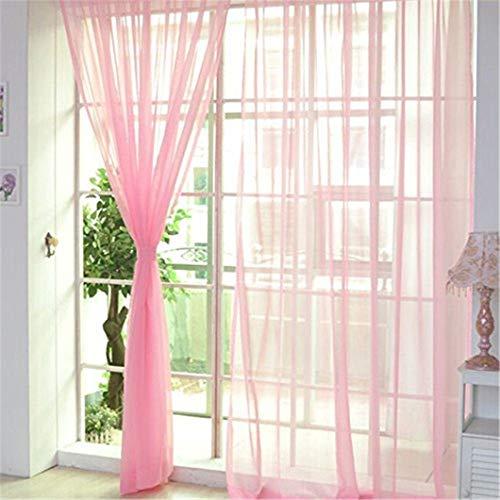 Fliyeong - Cortinas de tul para decoración del hogar, color liso, transparente