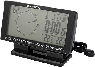 FLAMEER Digitaal Elektronisch Kompas voor Auto, met Klok, Thermometer En Kalender voor Binnen/Buiten, voor Auto, Reizen