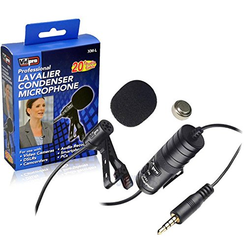 2 X Vidpro XM-L Wired Lavalier microphone - 20' Audio Cable - Transducer type: Electret Condenser FOR Canon VIXIA HF R500 Camcorder