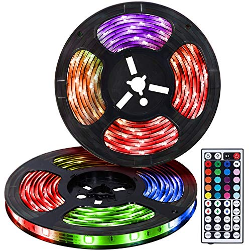 LED Strip Lights Kit 32.8ft LED Light Strip 300LEDs SMD 5050 12V 5A Power Supply IP65 Waterproof RGB Flexible Tape Light Kit with Sensitive Reaction 44Key Remote Controller &Strengthen 2.5M Tape