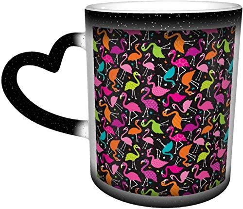 Flamingo Verano Colorido Pájaros Tropicales Retro Niñas Impresión Negro Sensible al Calor Taza Cambio de Color en el Cielo Taza de Cerámica Regalos Personalizados para Familiares Amigos