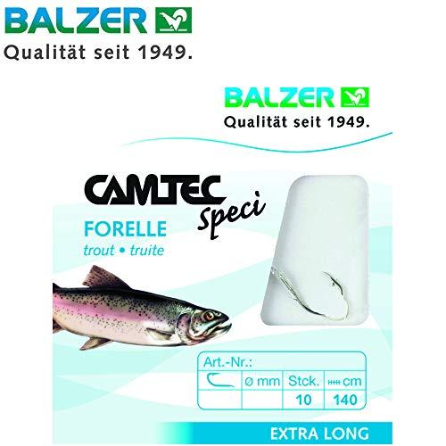 Balzer Camtec Forelle Sbirolino 1,40m - 10 gebundene Angelhaken zum Forellenangeln, Einzelhaken für Forellen, Forellenhaken, Hakengröße/Schnurdurchmesser:Gr. 6 / 0.22mm