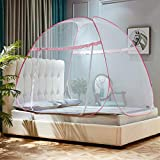 KE & LE Pop Up Mosquito Net for Home Travel, Camping Mosquito Tent Stand Canopy Large Mesh Curtain Without Floor Bottom for Queen Size Bed-a W:180cmxh:130cmxd:200cm