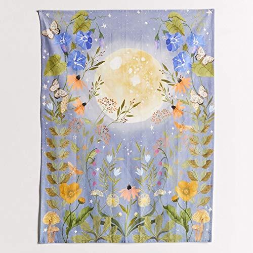 N\A Tapiz de pared psicodélico, diseño de estrellas de brujería, tapiz de tela, diseño floral, luna, para colgar en la pared, diseño de flores moradas