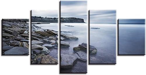 garantía de crédito Giow Lienzo HD HD HD Imprime Fotos Decoración para el hogar 5 Unidades Sunrise Beach Paisaje Marino Pintura Arrecife Shoals Cartel Sala de Arte de La Parojo Marco  barato