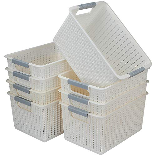 CBTONE Set of 8 Plastic Storage Baskets, Small Woven Organizer Bin with Handles for Bathroom, Health, Cosmetics, Hair Supplies, Beauty Products and Kitchen (White, 10.5x7.3x5.5)
