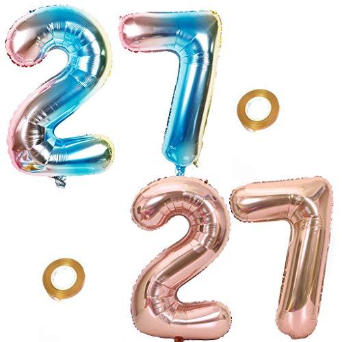 Haosell Juego de 2 globos para fiesta con número 27 de arcoíris y oro rosa, número 27 de cumpleaños número 27 cumpleaños decoración fiesta fiesta XL Globo de 32 pulgadas decoración