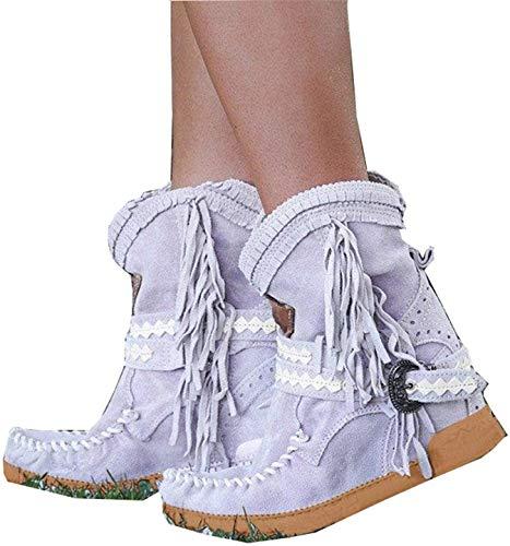 SQL Mujeres Indias Botas Occidentales Primavera, otoño e Invierno Botas con Flecos de tacón Plano Zapatos de Nieve con Flecos Casuales Botas de Nieve,Púrpura,42