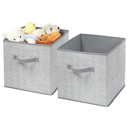 mDesign Cajas almacenaje juego de 2 – Cajas almacenaje ropa, toallas, sábanas – Ideales cajas organizadoras para un orden óptimo – Color: gris