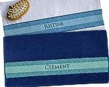 CADEAUX.COM Duo Serviettes personnalisées Blanche et Bleu Mosaique Personnalisables avec Deux Prénoms