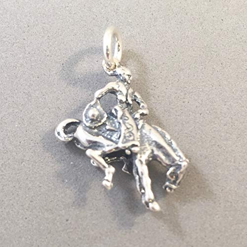 Rodeo Rider .925 Sterling Silver 3-D Charm Pendant Cowboy Cowgirl Bucking Bronco Mare Stallion Horse Horseback Riding Equestrian New hs41