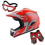 WOW Youth Motocross Helmet BMX MX ATV Dirt Bike Helmet Spider Web Red + Goggles + Martian Spider Red Glove Youth Bundle