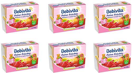 Bebivita Feine Früchte, Himbeere in Apfel-Birne, 6er Pack ( 6 x 4 x 100 g )