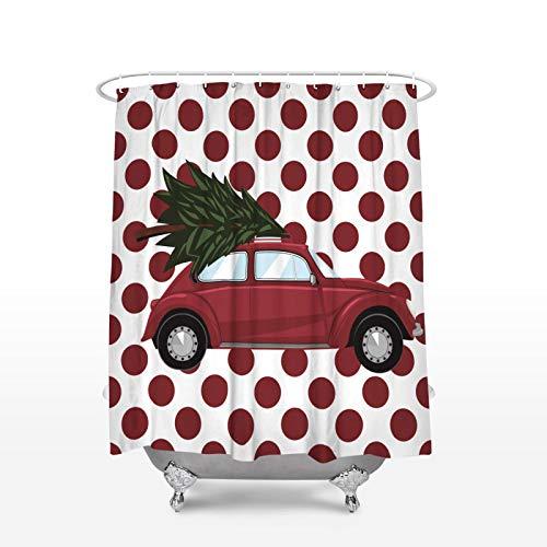 XiaoHeJD Weihnachtsmotive Spots Car DesignsDuschvorhang Wasserdichter Badvorhang aus Polyestergewebe, 150W x 180H