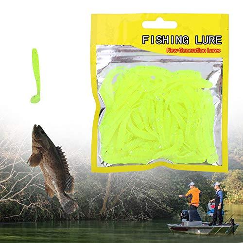 Pangdingk Appâts ver, 50PCS 5cm Leurres de pêche en Plastique Souple T-Tête Grub Ver appâts Fish Tackle Accessoire(Vert)