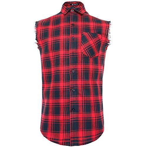 Sleeveless Casual Shirt for Men,Cowboy Plaid Button Down Shirts