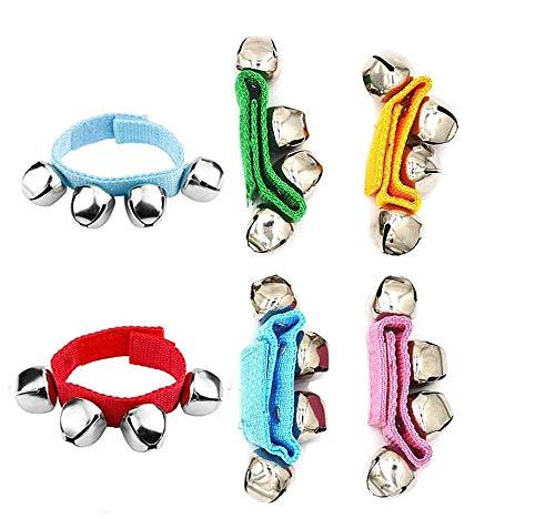 DQTYE - Juego de 6 campanas de muñeca multicolor de nailon, cascabeles, cascabeles, cascabeles, cascabeles, cascabeles, brazalete, instrumento musical para niños, fiestas, festivales