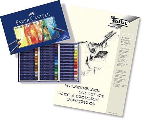 Faber-Castell Permanente Ölpastellkreide Studio Quality 36er Etui + A4 Skizzenblock