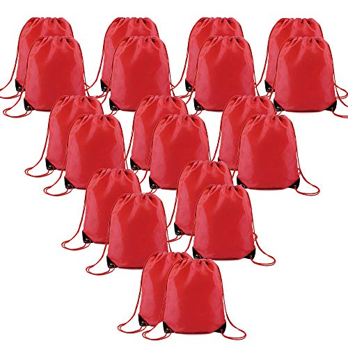 Red Drawstring Bag Backpacks Bulk 20 Pcs Personlized String Backpack Multipurpose Ripstop Polyester Custom Cinch Bags for Sports Gym Party