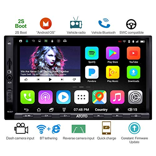 ATOTO A6 Android Car GPS Navigation Radio con doppio Bluetooth e ricarica rapida -Premium A6Y2721PB 2G/32G Entertainment Radio multimediale per auto, WiFi/BT Tethering Internet, supporto 256G SD