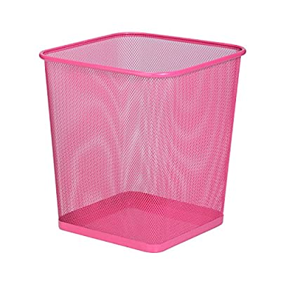 "Honey-Can-Do TRS-05085 Square Mesh Trash Basket, 10.5 x 10.5 x 11.7"", Pink"