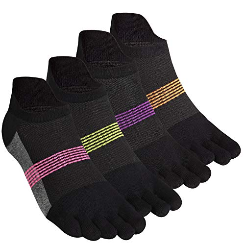 Women's Toe Socks 5 Fingers No Show Cotton Mesh Wicking Athletic Running walking Socks 4 Pack By Cosfash (Black-Women 07)