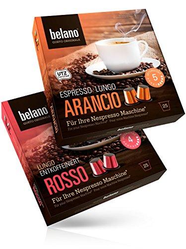 50x Belano Probiertset Nespresso kompatible Kapsel Capsule 100% Arabica Kaffee-Kapseln kompatibel mit Nespresso-Maschinen* 25x Rosso 25x Arancio