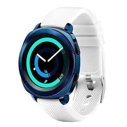 Fit-power - Correa de repuesto para reloj inteligente, de 20 mm, compatible con Samsung Gear Sport, Samsung Gear S2 Classic, Huawei Watch 2 Watch y Garmin Vivoactive 3, blanco
