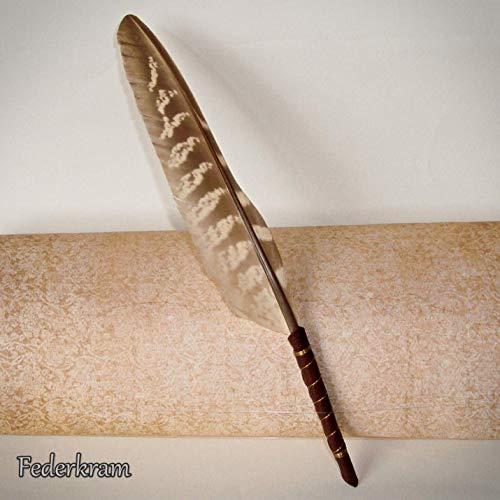 Kugelschreiber Fasan Schreibfeder, Kalligraphie, mit Ledergriff, Stift, Vogelfeder