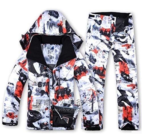 YUMUYMEY Herren Ski Anzug super warme Kleidung Ski Snowboard-Jacke + Hosenanzug windundurchlässige wasserdichte Winter tragen (Farbe : Red, Size : S)