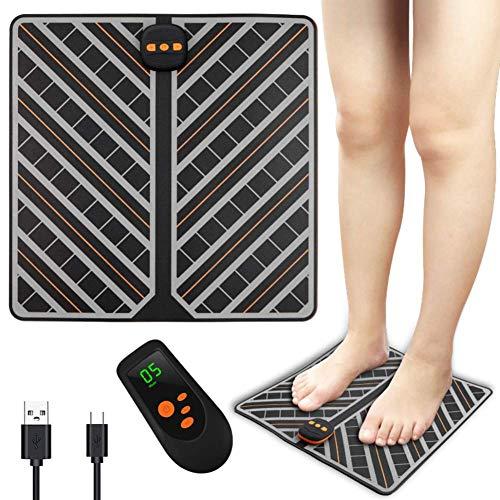 Phil Beauty Coussin De Massage des Pieds EMS Massage Pulse Sans Bruit Surface En Cuir Facile À Entretenir Chargement USB Instrument Meridian Dredge,Avec Télécommande,32X15x3cm