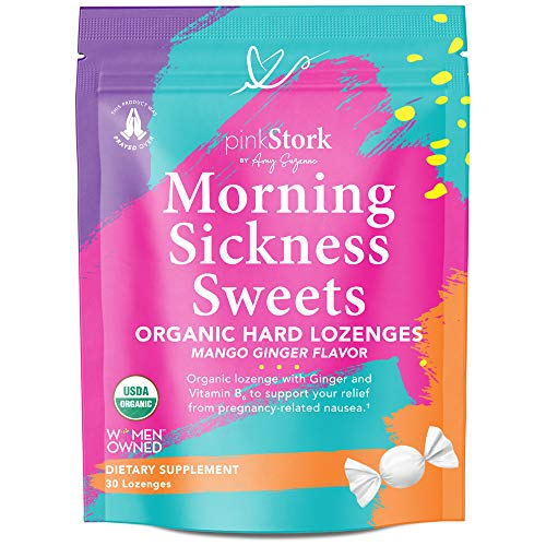 Pink Stork Morning Sickness Sweets: Ginger Mango Morning Sickness Candy for Pregnancy, Nausea, Digestion, 100% Organic + Vitamin B6, Women-Owned, 30 Hard Lozenges