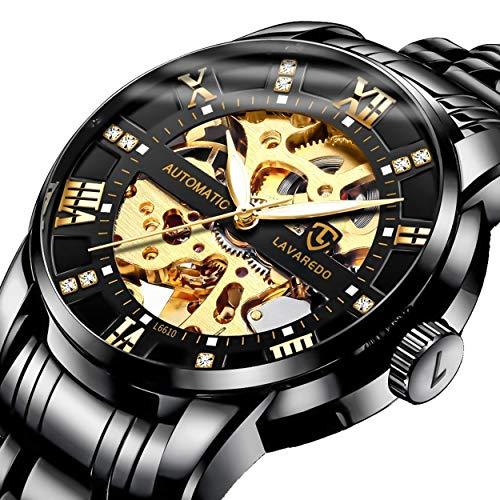 Reloj para hombre, de lujo, clásico, de esqueleto, mecánico, grande, esfera dorada, calavera, reloj de acero inoxidable con pulsera de eslabones, reloj resistente al agua para hombre
