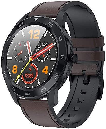 Sportuhr Fitness Armbanduhr Wasserdicht Smart Watch Mode Fitness Tracker mit Herzfrequenz und Schlaf-Monitor Blutdruckmessgeräte for Männer Frauen for Android IOS (Color : Brown Leather Black Shell)