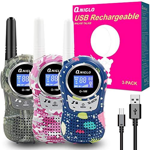 QNIGLO Q168Plus Walkie Talkie Niños Recargables,8 Canales Radio Bidireccional 2 Millas de Largo Alcance PMR,Equipo de Espía,Mejores Juguetes Regalos,con Baterías de Litio(Q168Plus_3Pack)