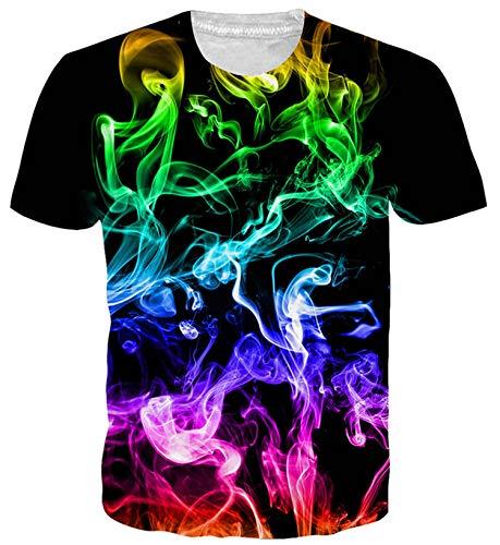 ALISISTER Herren Damen Coole T Shirts 3D Bunte Smoking Muster T-Shirt Casual Sommer Kurzarm Neuheit T Shirts für Party Sport L