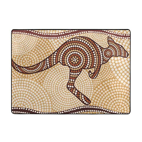 Raditional Bright Colorful Area Rug, Carpet 8460 in -Australian Brown Australia Kangaroo Painting in The Aboriginal Abstract-01