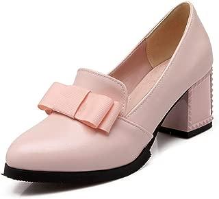 Veveca Women Bow Platform Chunky Mid Heel Fashion Uniform Dress Oxfords Shoes Pointed Toe Loafer Pump