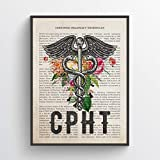 CPHT with Flowers Print, Certified Pharmacy Technician Gift, Pharmacy Student Graduation, Medical Print, CPHT Present