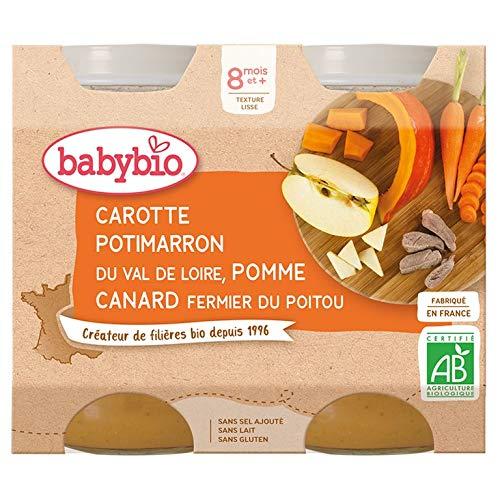 Babybio Petits Pots Carotte Potimarron Pomme/Canard Fermier du Poitou 2x200 g - 8+ Mois - BIO