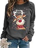 Onsoyours Weihnachten Pullover Damen, Rudolph Rentier Elfe Weihnachtspullover Kapuzenpullover Teenager Mädchen Weihnachtspulli Weihnachtsmann Christmas Sweatshirt Xmas Pulli Shirt A Grau L