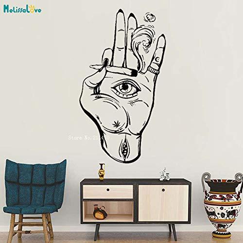 Haus Dekoration Hand-Augen-Hanf-Vinyl Wandaufkleber Hippie Startseite Kunst-Dekor for Wohnzimmer-Aufkleber Großen Murals einzigartigen Geschenk YT2299 ( Color : Custom color , Size : XXL 84x150cm )