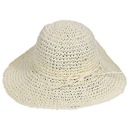 Elegante para mujer para la visera de paja de ancho grande plegable disquete natación playa sombrero de paja
