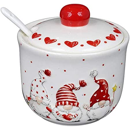 Brandani 52335 Zuccheriera Le Bacche Porcellana Diametro 9x10.5h cm Colore Rosso Decoro Natalizio
