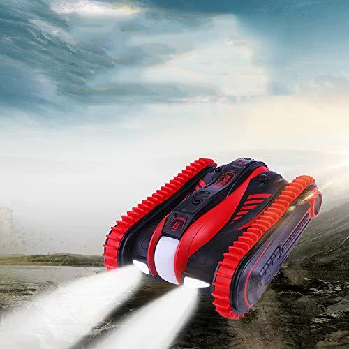 Pinjeer 2,4 GHz RC Car 6-Channel 1:12 Amphibienfahrzeug 360-Grad-Umdrehungs-Stunt-Fahrzeug-Spielzeug geeignet für Wasser- und Landgeburtstagsgeschenke für Kinder 8+ (Color : Red)