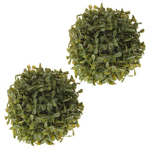 MACOSA EX221798 2X Buchsbaumkugel, künstlich grün Ø 13 cm Dekopflanze Kunstpflanze Buchs-Kugel Deko für alle Wohnbereiche Tischdeko