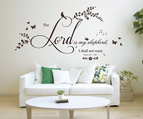 Psalm 23 v 1, NIV christliche Bibelvers Zitat, Vinyl Wandkunst Aufkleber, Wandbild, Aufkleber. Zuhause, Kirche, Schule Dekor. Wanddekoration. The Lord is my Shepherd.
